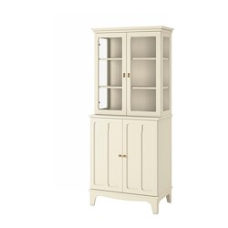 LOMMARP - Cabinet with glass doors, light beige