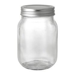 FRYNTLIG - Jar with lid, clear glass/tin-plated