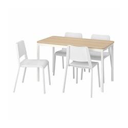 TEODORES/TOMMARYD - Meja dan 4 kursi, kayu oak putih/putih