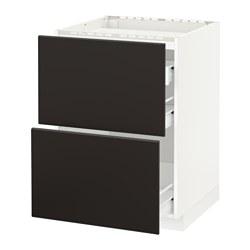 METOD/FÖRVARA - Kab dasar u kompor/2 bag dpn/3 laci, putih/Kungsbacka antrasit