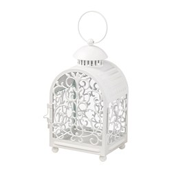 GOTTGÖRA - Lantern for candle in metal cup, in/outdoor white