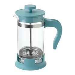 UPPHETTA - Pembuat kopi/teh, kaca/toska tua, 0.4 l