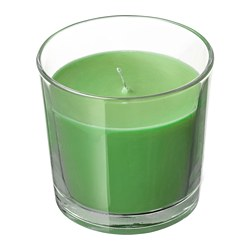 SINNLIG - Scented candle in glass, Apple and pear/green