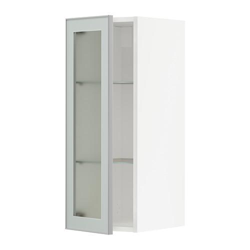 METOD wall cabinet w shelves/glass door