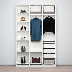 PAX/BERGSBO/VIKEDAL - Kombinasi lemari pakaian, putih/cermin kaca