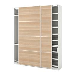 PAX/MEHAMN - Kombinasi lemari pakaian, putih/efek kayu oak diwarnai putih