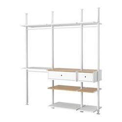 ELVARLI - 3 bagian, putih/bambu, 218x51x222-350 cm