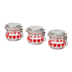 VINTER 2020 - Jar with lid, clear glass/heart-pattern red