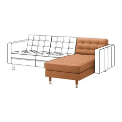 LANDSKRONA - Chaise longue, unit tambahan, Grann/Bomstad emas-cokelat/logam