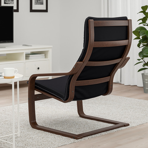 POÄNG - kursi berlengan, cokelat/Knisa hitam   IKEA Indonesia - PE666955_S4