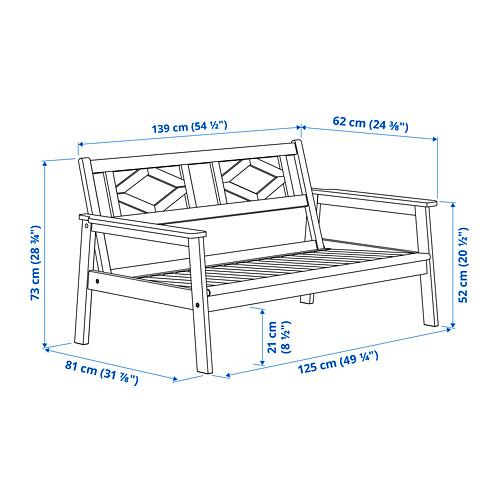BONDHOLMEN sofa 2 dudukan, luar ruang