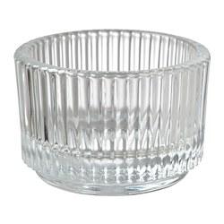 FINSMAK - FINSMAK, tempat lilin kecil, kaca bening, 3.5 cm