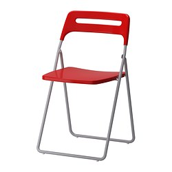 NISSE - Folding chair, silver-colour/red