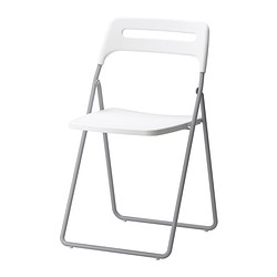 NISSE - Folding chair, silver-colour/white