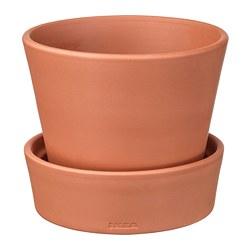 INGEFÄRA - Pot tanaman dengan alas, luar ruang/terracotta