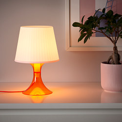 LAMPAN - Table lamp, orange/white