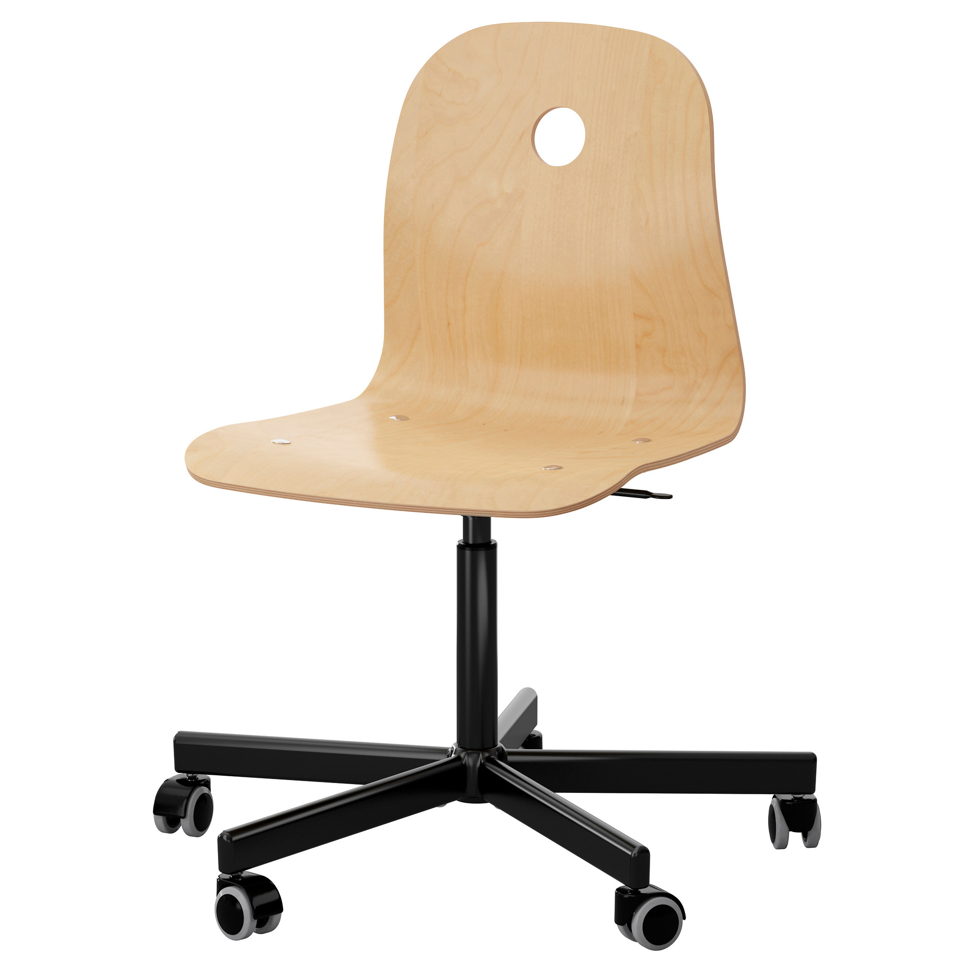 V 197 Gsberg Sporren Swivel Chair Birch Veneer Black Ikea