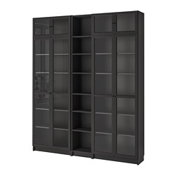 BILLY/OXBERG - Bookcase, black-brown
