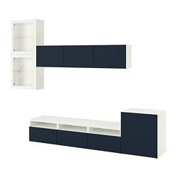 BESTÅ - TV storage combination/glass doors, white/Notviken blue clear glass