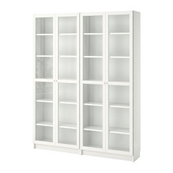 BILLY/OXBERG - Bookcase, white/glass