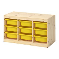 TROFAST - Storage combination with boxes, light white stained pine/yellow