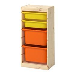 TROFAST - Kombinasi penyimpanan dgn kotak, pinus diwarnai putih muda oranye/kuning