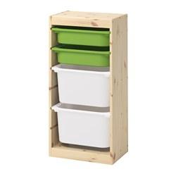 TROFAST - Kombinasi penyimpanan dgn kotak, pinus diwarnai putih muda hijau/putih