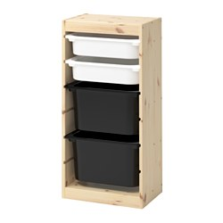 TROFAST - Storage combination with boxes, light white stained pine white/black