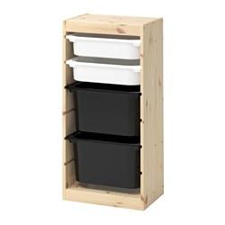 TROFAST - Kombinasi penyimpanan dgn kotak, pinus diwarnai putih muda putih/hitam