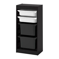 TROFAST - Kombinasi penyimpanan dgn kotak, hitam/putih hitam