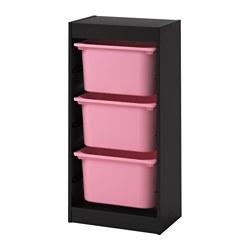 TROFAST - Kombinasi penyimpanan dgn kotak, hitam/merah muda