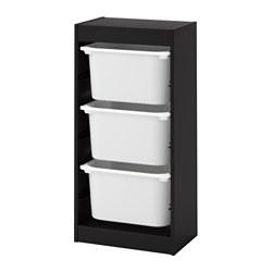 TROFAST - Kombinasi penyimpanan dgn kotak, hitam/putih