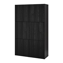 BESTÅ - Storage combination with doors, black-brown/Timmerviken black