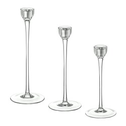 BLOMSTER - Candlestick, set of 3, clear glass