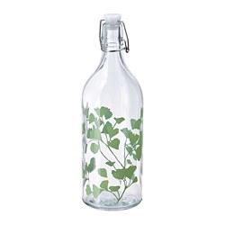 KORKEN - Botol dengan penutup, kaca/bercetak