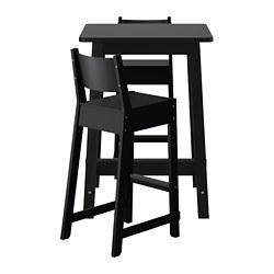 NORRÅKER/NORRÅKER - Meja bar dan 2 bangku bar, hitam/hitam