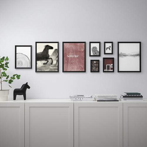 KNOPPÄNG bingkai dengan poster, set isi 8