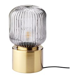 SOLKLINT - Table lamp, brass/grey clear glass