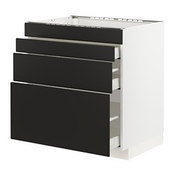 METOD - Base cab f hob/4 fronts/3 drawers, white Maximera/Kungsbacka anthracite
