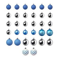 VINTERFEST - Decoration bauble, set of 32, blue/white/silver-colour