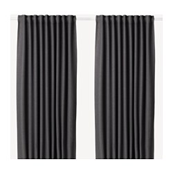 ANNAKAJSA - Room darkening curtains, 1 pair, grey