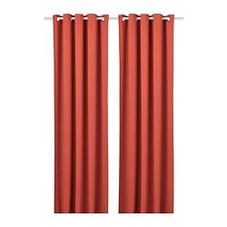 HILLEBORG - Gorden penggelap ruangan, 1 pasang, cokelat-merah