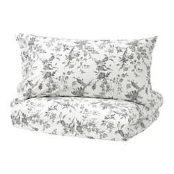ALVINE KVIST - Sarung quilt dan 2 sarung bantal, putih/abu-abu