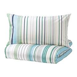 BLÅRIPS - Sarung quilt dan 2 sarung bantal, biru