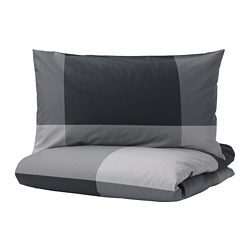 BRUNKRISSLA - Quilt cover and 2 pillowcases, black