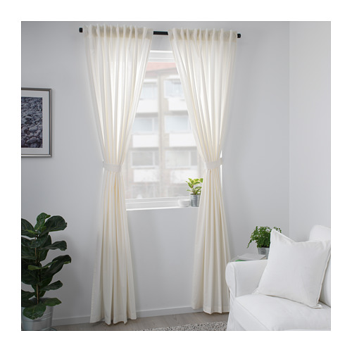 AMILDE curtains with tie-backs, 1 pair