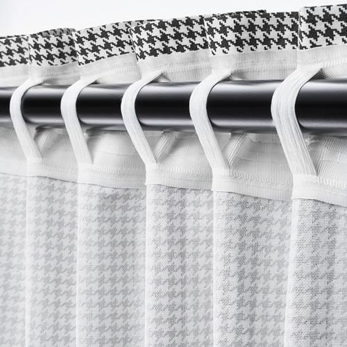 ORDENSFLY - curtains, 1 pair, white/dark grey, 145x250 cm   IKEA Indonesia - PE742925_S4