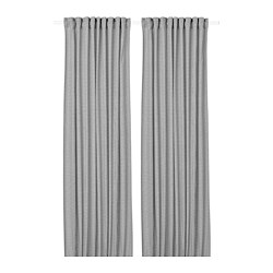 ORDENSFLY - Curtains, 1 pair, white/dark grey