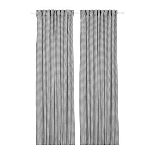 ORDENSFLY - curtains, 1 pair, white/dark grey, 145x250 cm   IKEA Indonesia - PE742923_S4