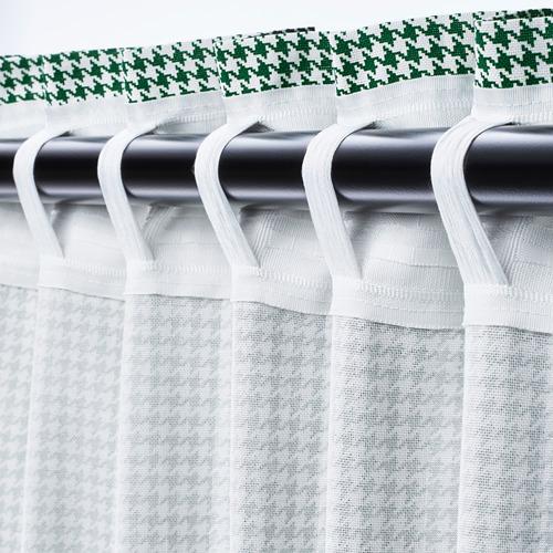 ORDENSFLY - curtains, 1 pair, white/green, 145x250 cm   IKEA Indonesia - PE742929_S4